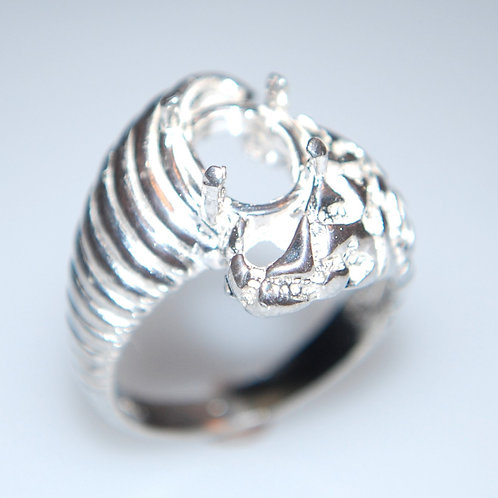 Nugget and Fluted Silver Ring