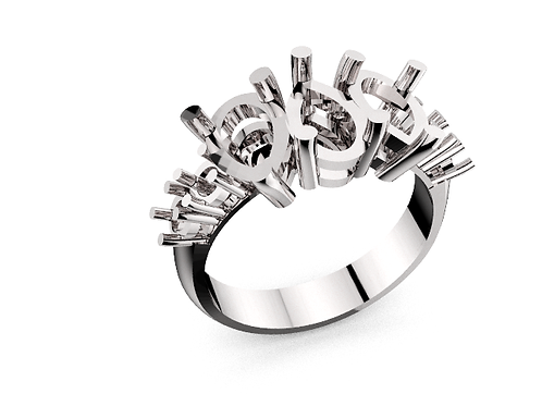 LRPR2258  Three pair shape ring with accents
