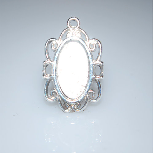 P1121  custom oval cab silver pendant with accent