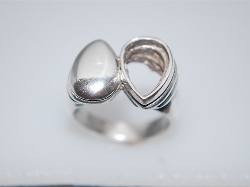 PR104  12 x 8 pear shape silver ring