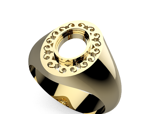 VCD212  Mens oval filigree top ring