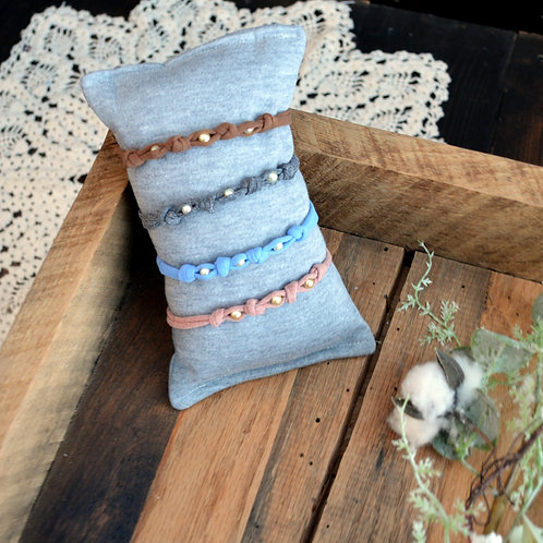 Soft Stretch Pearly Tieback bundle (acorn, grey, sky, mauve)