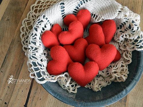 Red Felt Heart Stuffies    approx. 2.5 in