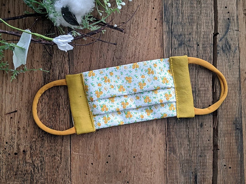 Mustard Calico Re-Usable Cloth FaceMask | child