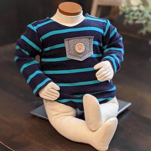 Navy & Teal Stripe Long Sleeve Pocket Onesie | sitter medium