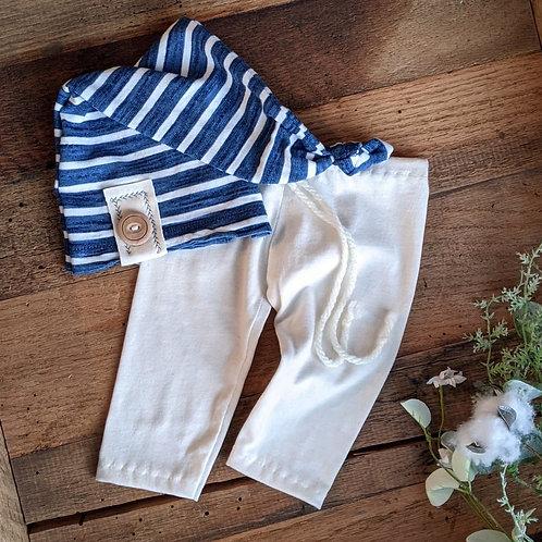 Navy Stripes Knot Set   newborn