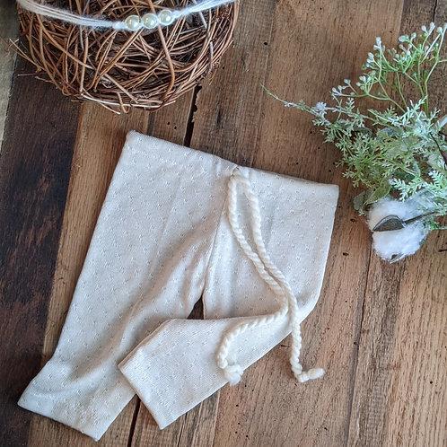Creamy Textured Pant & Pearl Tieback | newborn