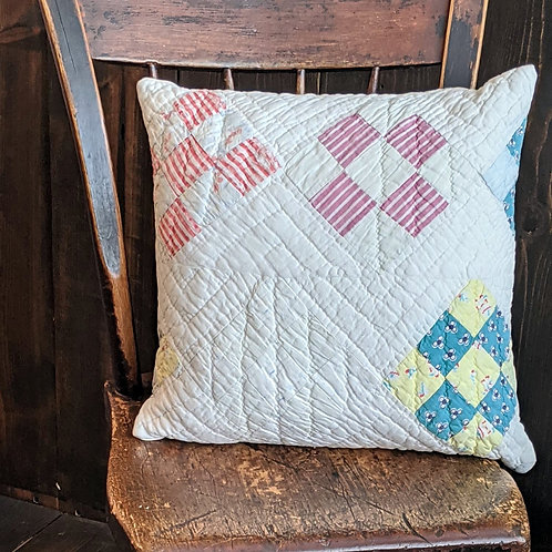 Nine Patch Vintage Quilt Pillow | 16x16 in.