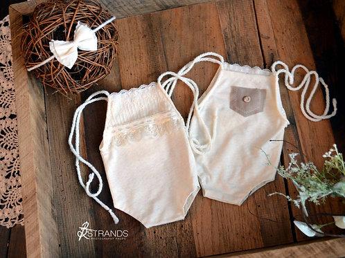 Cream Reversible Onesie & Tieback | newborn
