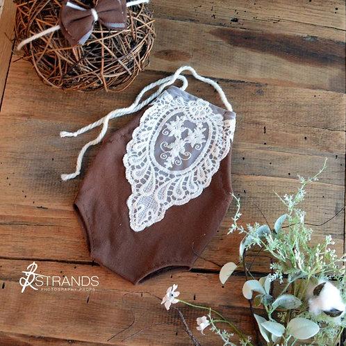 Chocolate Victorian Lace Front Onesie & Tieback   newborn