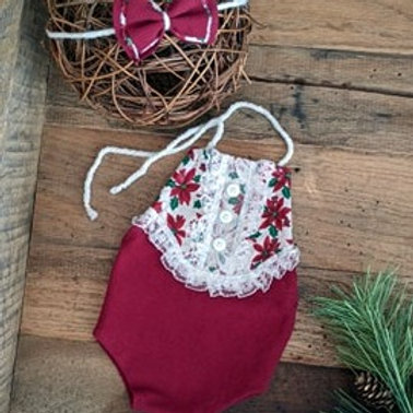 Poinsettia Button Front Halter & Tieback | newborn