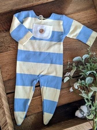 Blue & Yellow Stripes Sleeper | newborn