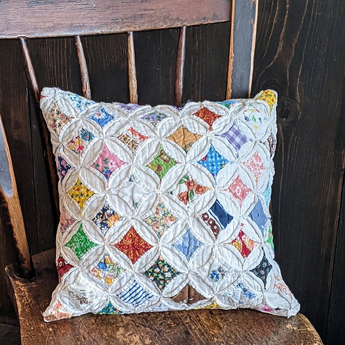 Cathedral Window Vintage Quilt Pillow | 14x14 in.