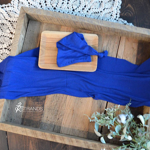 Soft Cobalt Wrap & Cap Set