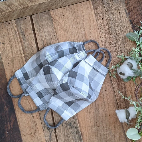 Grey Check Fitted Re-Usable Cloth FaceMask | adult
