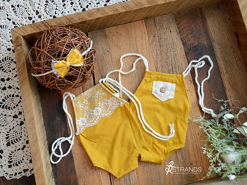 Mustard Reversible Onesie & Tieback   newborn