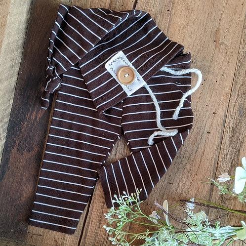 Chocolate Stripes Knot Cap Set | newborn