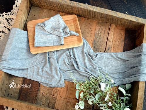Light Heathered Grey Wrap & Cap Set