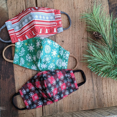 Christmas Fitted Re-Usable Cloth FaceMask   adult