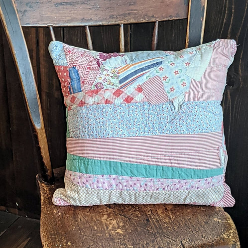 Pinky Patchwork Vintage Quilt Pillow | 14x14 in.
