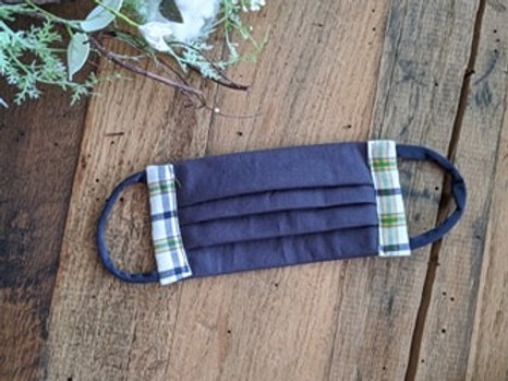 Navy Light Plaid Re-Usable Cloth FaceMask | adult
