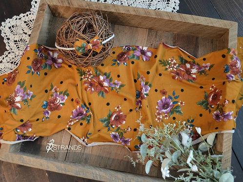 Honey Mustard Dotty Floral Wrap & Tieback Set