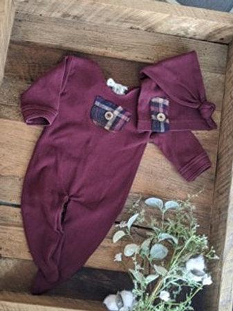 Wine & Plaid Accent Sleeper Set | newborn