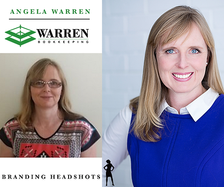 Corporate portrait comparison of Angela Warren from Warren Bookkeeping. A comparison between an old headshot and a new one taken by Branding Headshots.