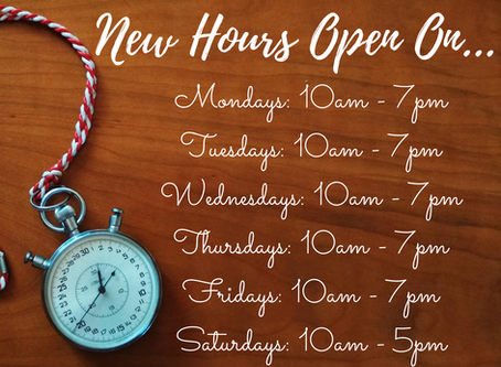 New Opening Hours Now In Effect