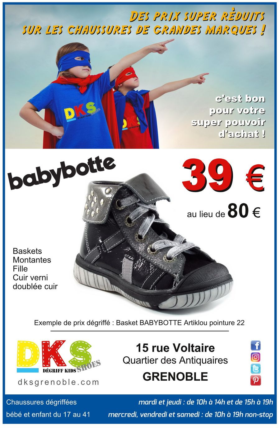 chaussures babybotte fille dégriffées Grenoble