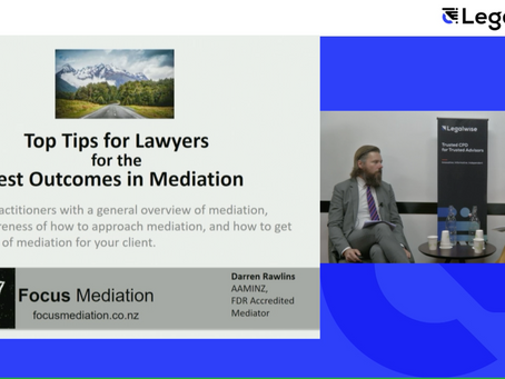 Presenting mediation tips for lawyers at the Legalwise event