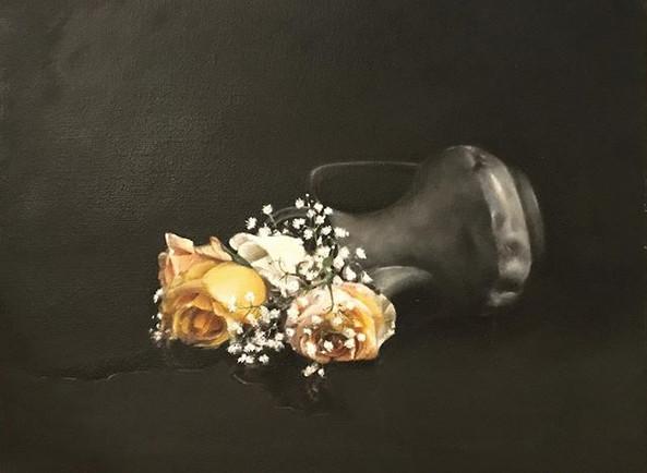 Spilt roses, still life oil on canvas ☺️