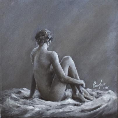 sitting side facing nude