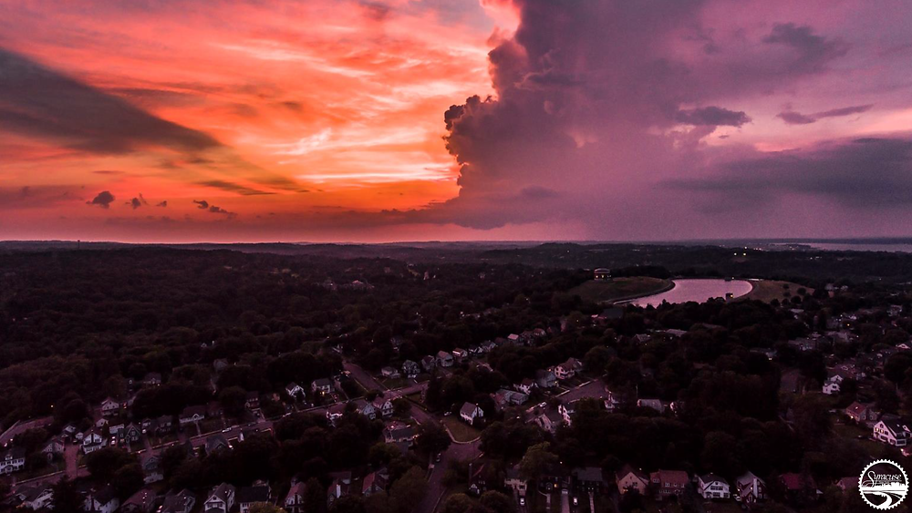 Syracuse drone photograph woodland reservoir