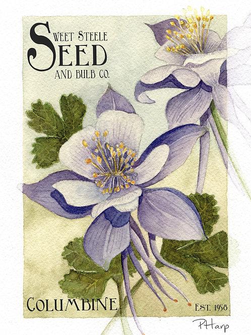 Columbine - Sweet Steele Seed & Bulb Co. Greeting Card