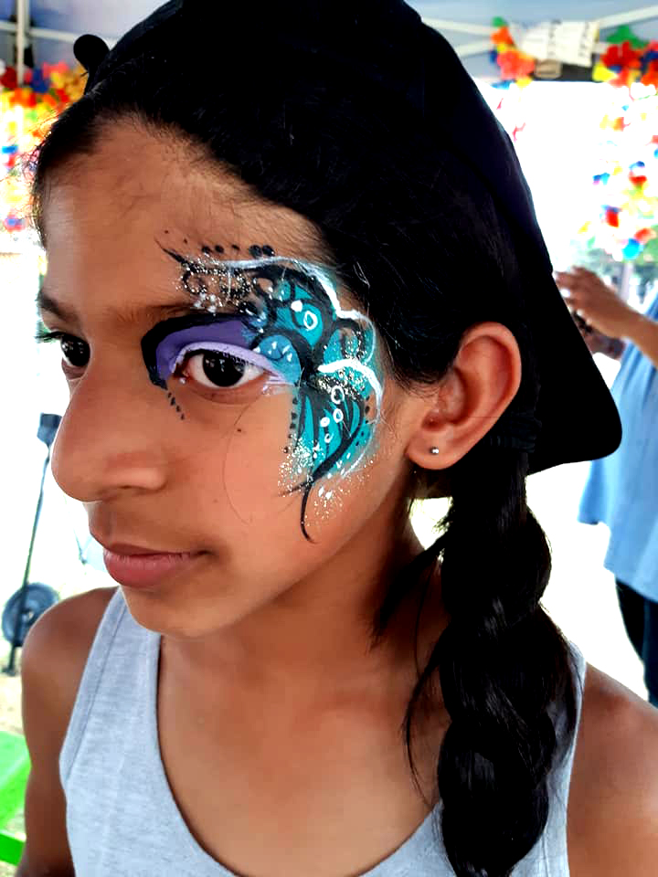 Blue Swirl Girls Face Paint