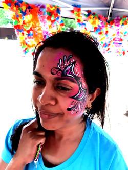 Pink Bat Eye Face Paint Design