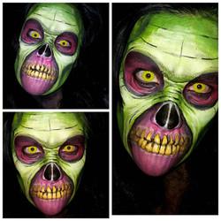 Green Zombie Halloween Makeup