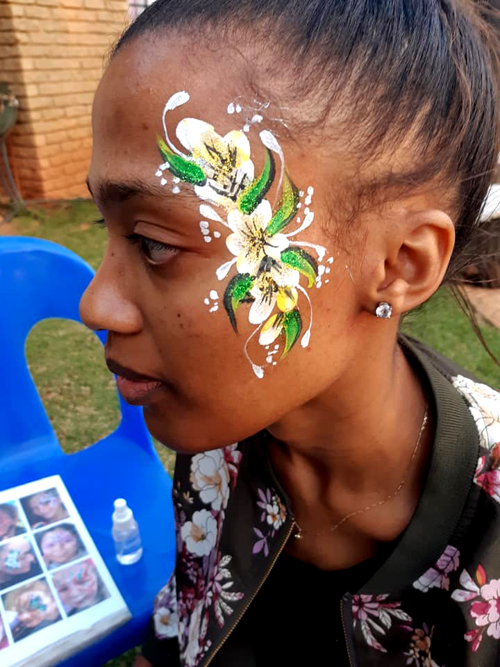 Yellow Flower Girl Face Paint
