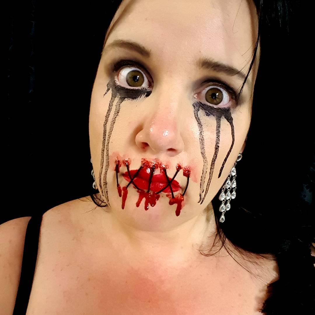 Sewn Mouth Halloween Makeup