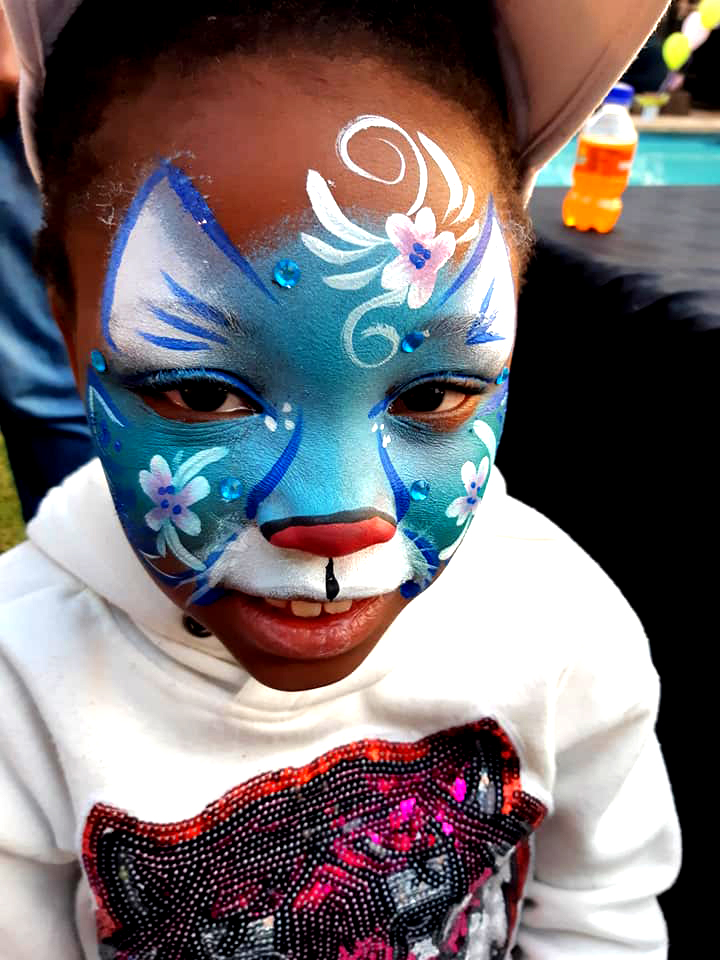 Flower Tiger Girls Face Paint