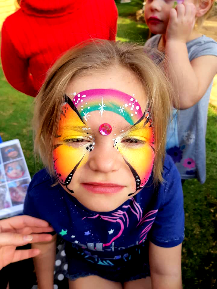 Rainbow Flower Girls Face Paint