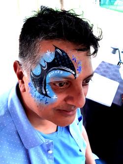 Blue Bat Eye Face Paint Design