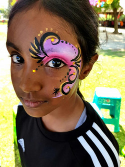 Pink, Black and Gold Eye Face Paint