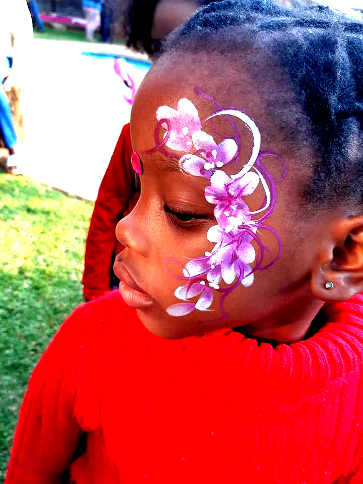 Pink Flower Cheek Girls Face Paint