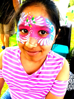 Pink and Blue Swirl Mask Face Paint