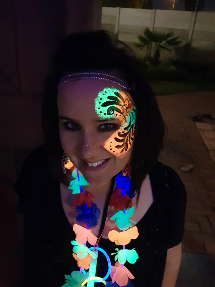 Swirly Lumo Girls Face Paint Design
