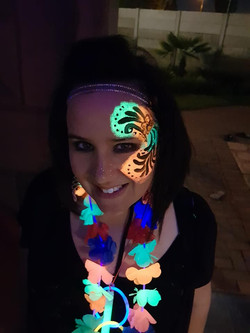 Swirly Lumo Girls Face Paint Design