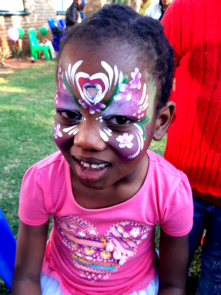 Pink Heart Design Girl Face Paint