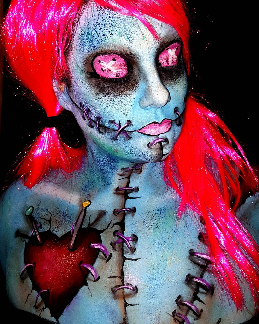 Voodoo Doll Halloween Face Paint